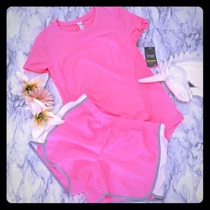 PINK SPORTS ATHLETIC TOP AND SHORTS BUNDLE OF 2
